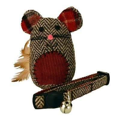 Christmas Festive Heritage Cat Feather Tail Mouse Toy and Collar Xmas Gift Set