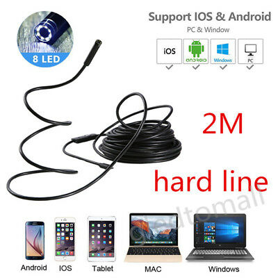 Rigid Cable 2m 8mm Endoscope Snake Borescope Micro USB Inspection Spy Camera 2MP