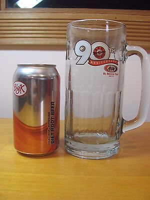 90th Anniversary A & W Root Beer Large Tall Glass Mug 2009 Collectible
