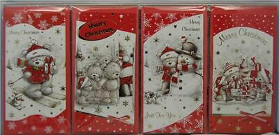 4 Luxury Bear 3D Christmas Money Gift Voucher Xmas Wallet Cards With Envelopes