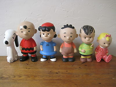 6 Large Vintage Charlie Brown Peanuts 1968 Ceramic Figurines Signed  Up to 9""