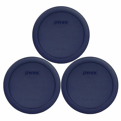 Pyrex 7201-PC Blue 4 Cup Round Plastic Lid Covers 3PK for Glass Bowls New