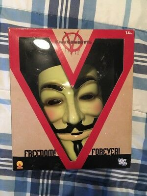 V FOR VENDETTA MASK Costume DELUXE Guy Fawkes Anonymous LICENSED Collectible NEW