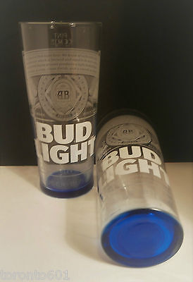 Budweiser Bud Light Pint Glasses (X2) - New 2017 / Ce Stamped / Nucleated