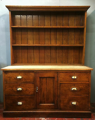 Antique Oak Dresser With Sycamore/ Beech Top, Rack, Drawers/ Cabinet, Industrial