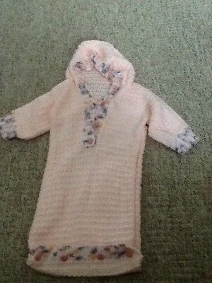 Baby girls hand knitted pink sleeping bag 0-3 months
