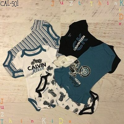 Sale!!! Calvin Klein New Infant 0-9M Baby Girl Boy 5 Pieces Bodysuit Romper Set