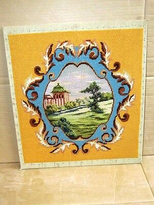 Beautiful Large Needlepoint & Petitepoint Image Of Building In Crest