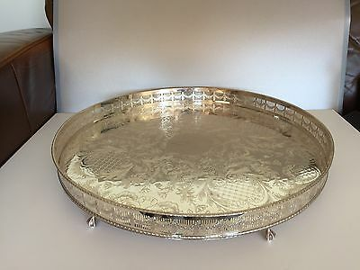 Stunning Very Large Quality Silver Plated Circular Gallery Tray  On 6 Feet