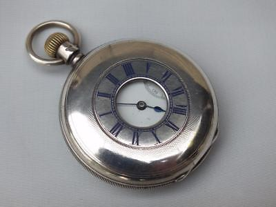 ANTIQUE HALL MARKED SILVER HALF HUNTER FOB WATCH A W WATCH Co USA 1892