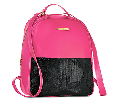 Juicy Couture pink black backpack Sequins travel school bag bookbag NEW