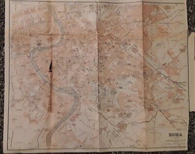 Italy, Roma, 1909 Antique Map, Wagner & Debes, Atlas