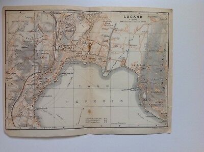 Italy, Lugano, 1909 Antique Map, Wagner & Debes, Atlas