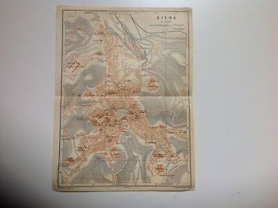 Italy, Siena, 1909 Antique Map, Wagner & Debes, Atlas
