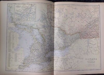 Canada The Province Of Ontario  1882 Antique Map W.G. Blackie Atlas