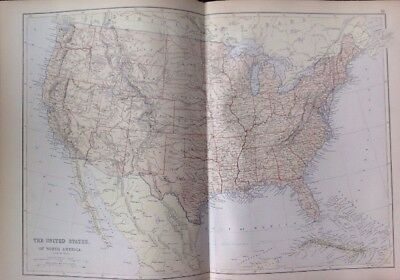 The United States Of North America 1882 Antique Map W.G. Blackie Atlas