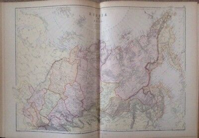 Russia In Asia 1882 Antique Map W.G. Blackie Atlas