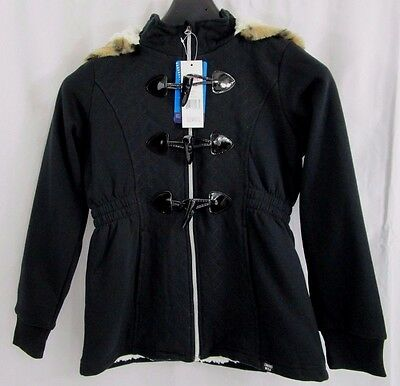 Limited Too Girl's Sherpa Lined Hooded Mid-Weight Jersey Jacket (Black) *NWT*