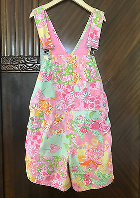 Euc Lilly Pulitzer Girls Short Jumper Overalls 6 6X White Label Pink Green Print