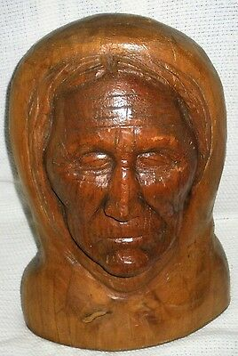 ANTIQUE c. 1890 - 1920 WOOD CARVING TAOS PUEBLO NATIVE AMERICAN INDIAN MAN vafo
