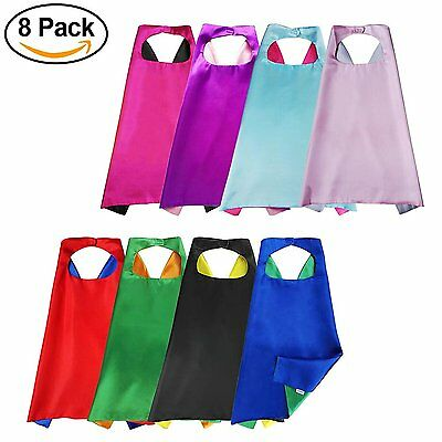 Aimike Superhero Party Dress Up Cape Reversible Dual Color for Kids - Pack of 8