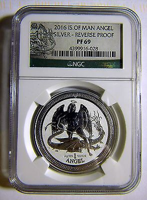 2016 Isle of Man 1oz Reverse Proof Silver Angel NGC PF69 Only YEAR MINTED + Pamp