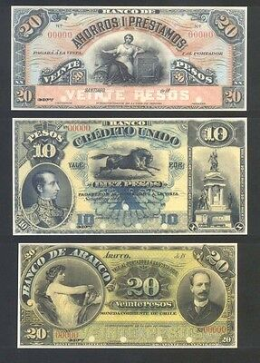 FACSIMILE COLLECTION of 154 banknotes printed by American Banknote Co for CHILE