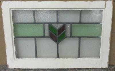 "OLD ENGLISH LEADED STAINED GLASS WINDOW Immaculate Geometric 21.75"" x 14.25"""