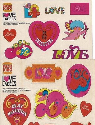 Vtg Lot 2 early 1970s Burger King Psychedelic Valentines Day Love Stickers Label