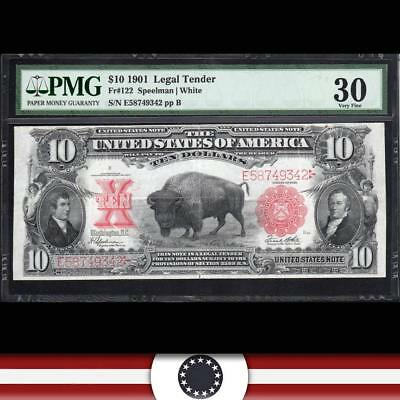BRIGHT 1901 $10 Legal Tender BISON Large size Note PMG 30 Fr 122   E58749342