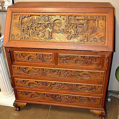 Antique Intricate Hand carved Asian Wood Secretary Desk Drawers by Far East Co.