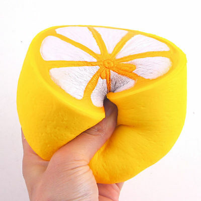 Hot Jumbo Squishy Half Lemon Fruit Scented Super Slow Rising Keyring Kid Fun Toy