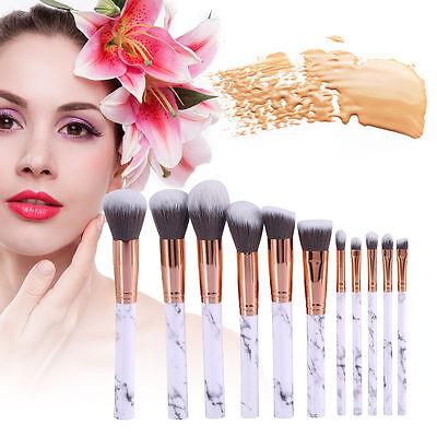 10pcs Kabuki Professional Make-up Brush Set Foundation Blusher Face Powder
