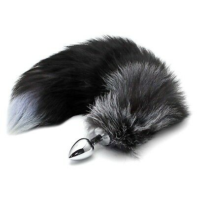 Novel Long Faux Fox Tail Stopperl With Silver Stainless Steel Plug Adult