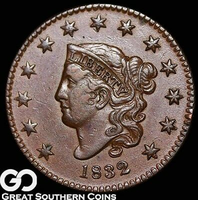 1832 Large Cent, Coronet Head, Very Tough BU++ Better Date Early Copper!