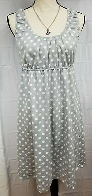 Baby Be Mine Maternity Nursing Layette Dress Size Large Gray Polka Dot 14 7