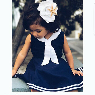 Cool Navy Blue Sailor Dress Skirt Clothes for 0-5Y Infant Toddler Baby Girl Kids