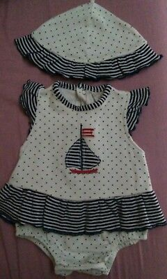 Baby girl sailor bodysuit outfit with matching sun hat 0-3 months