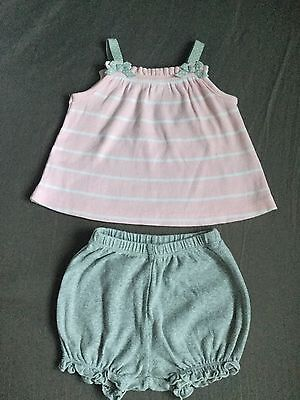 Carters Baby Girls Top & Shorts Outfit. Size 9 Months