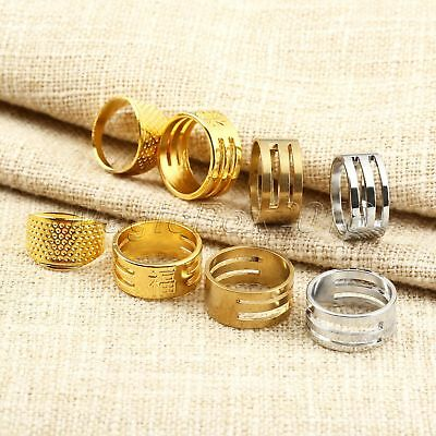 3Pcs Tailors' Quilting Sewing Thimbles Rings Needle Hoop Finger Protector Metal