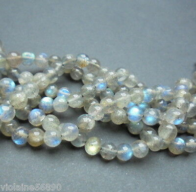 LOT de 30 PERLES PIERRE NATURELLE INDE 5 mm LABRADORITE NATURAL STONE BEADS ASIA