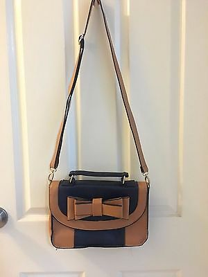 PRINCESS HIGHWAY Ladies Crossbody Bag in Navy Blue/Tan with Cute Bow