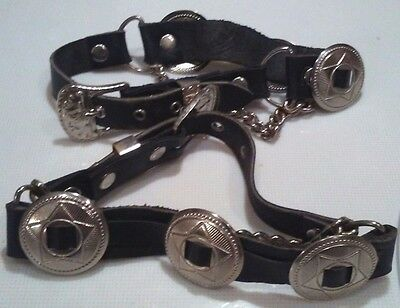 Harley Davidson Boot Chains and Charms on Black Leather Sraaps