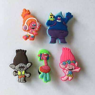 New set of 5 Trolls Poppy Branch DJ Cooper jibbitz croc shoe charms cake toppers
