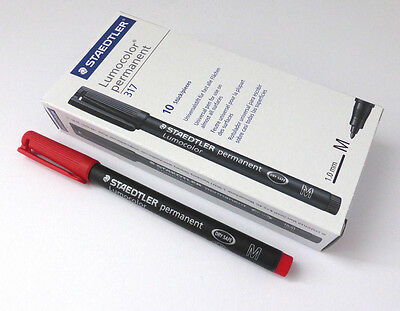Folienstift Staedler permanent 1,0mm Rot 10er Set Lumocolor