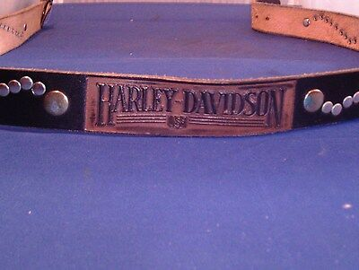 Certified Harley Davidson Leather Belt Black W/Tooled~ Embossed HD USA Made