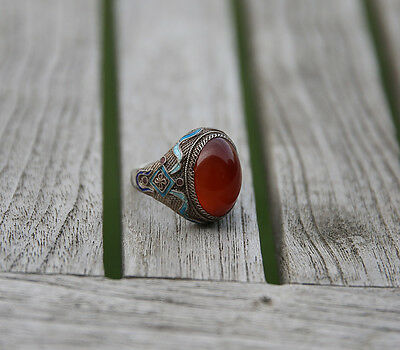 Antique Chinese Silver Carneol & Enamel Ring