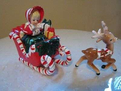 Lefton Christmas Shopper Girl in Candy Cane Sleigh And 1 Reindeer Vintage