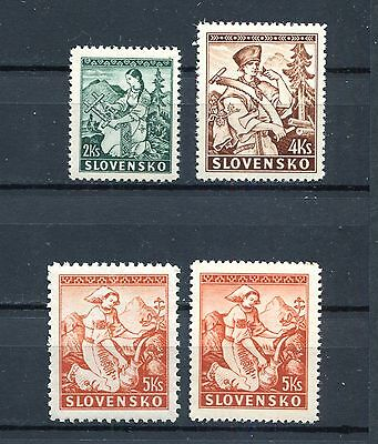 SLOVAKIA WW2 GERMAN PUPPET STATE 1939 SET INCLDUING P10 SCOTT 40-42a PERFECT MNH
