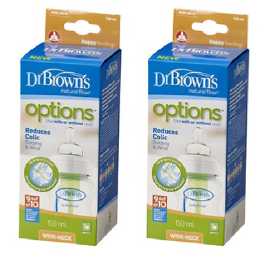 Dr Brown's Options Wide Neck Bottle Twin 150 ml Clear